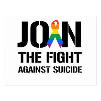 Únase a la lucha contra suicidio gay postal