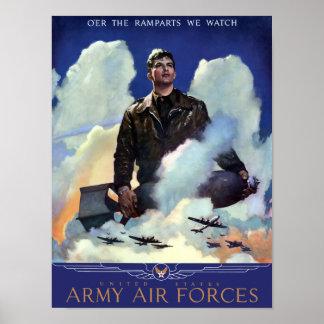 Únase a las fuerzas aéreas del ejército -- WWII Póster