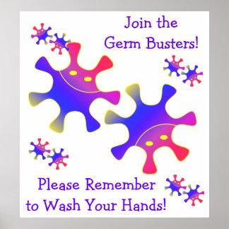 ¡Únase a los tipos del germen - lávese las manos!  Póster