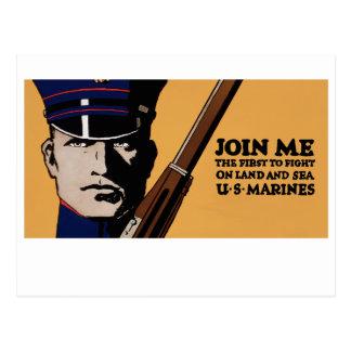 Únase a me los infantes de marina de los E.E.U.U. Postales