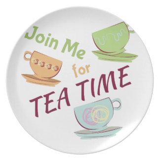 Únase a me para el té plato para fiesta
