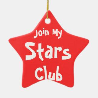 Únase a mis ornamentos del club de las estrellas adorno de cerámica en forma de estrella