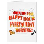 Únase a nos para la hora feliz el cada los domingo felicitación