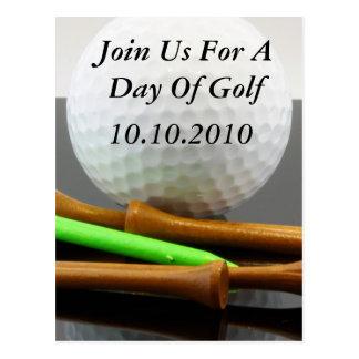 Únase a nos por un día de golf tarjetas postales