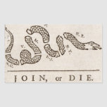 Únase a, o muera bandera rectangular pegatina