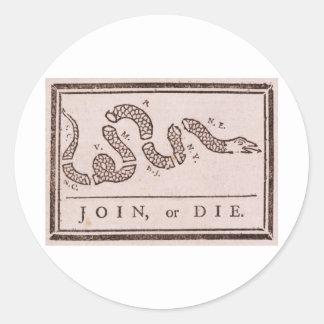 Únase a o muera dibujo animado político de pegatina redonda