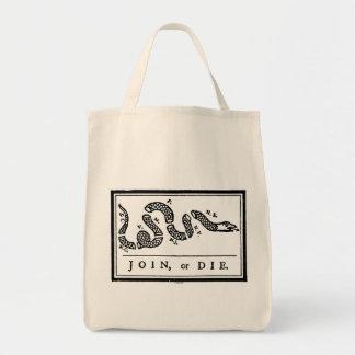 Únase a o muera el dibujo animado, 1754 bolsa tela para la compra