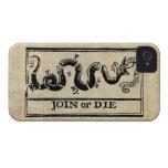 Únase a o muera grabar en madera en Declaración de iPhone 4 Carcasas
