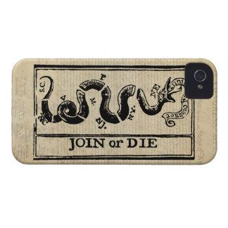 Únase a o muera grabar en madera en Declaración de iPhone 4 Case-Mate Cárcasas