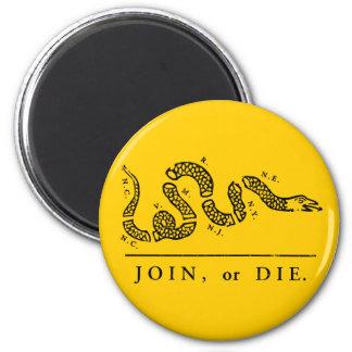 Únase a o muera - libertario imán redondo 5 cm