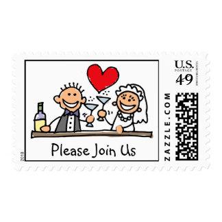 Únase a por favor nos los sellos del boda