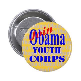 Únase al botón del cuerpo de la juventud de Obama Pin