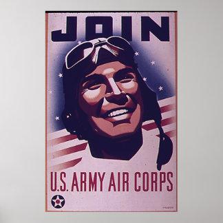 Únase al cuerpo de aire del ejército póster