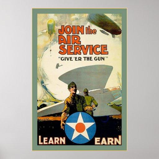 Únase al guerra mundial del vintage del ~ del póster
