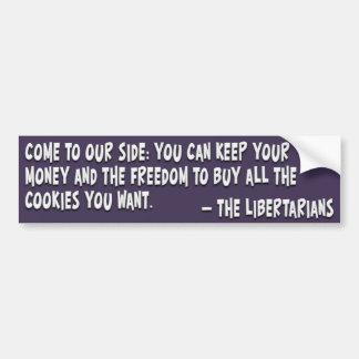 Únase al lado oscuro y haga un libertario etiqueta de parachoque