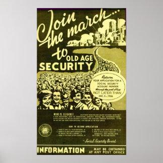Únase al marzo a la seguridad de la edad avanzada posters