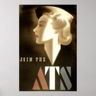 Únase al poster de la guerra del vintage del ATS Póster