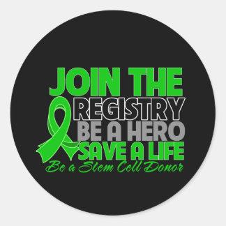 Únase al registro sea un héroe del donante de la pegatina redonda