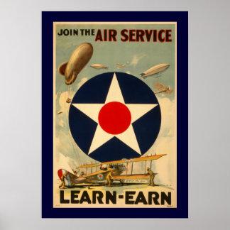 """Únase al servicio aéreo """"Aprender-Ganan"""" (la front Poster"""