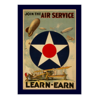 """Únase al servicio aéreo """"Aprender-Ganan"""" (la front Póster"""