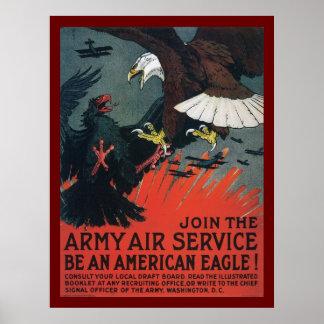Únase al servicio aéreo del ejército póster
