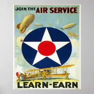 Únase al servicio aéreo póster