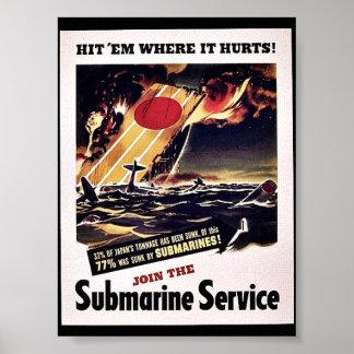Únase al servicio submarino poster