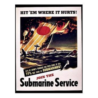 Únase al servicio submarino tarjetas postales