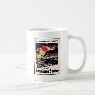 Únase al servicio submarino taza de café