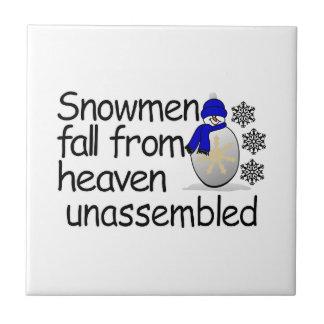 Unassembled Snowman Small Square Tile