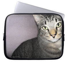 Unassuming And Unimpressed Tommy Cat Neoprene Bag Laptop Sleeves
