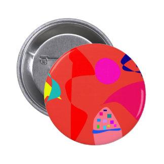 Unbalance Coral Red 2 Inch Round Button