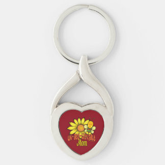Unbelievable Mom Sunflower and Bee Silver-Colored Heart-Shaped Metal Keychain