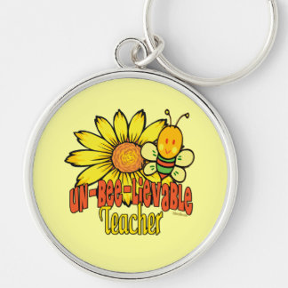 Unbelievable Teacher with Sunflower and Bees Keychain