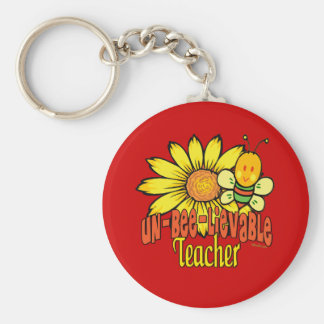 Unbelievable Teacher with Sunflowers and Bees Keychain