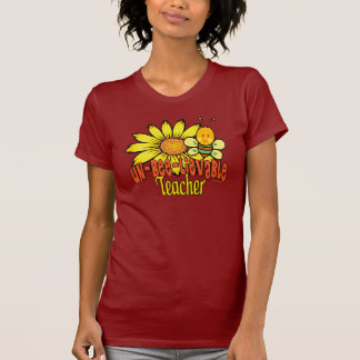 Unbelievable Teacher with Sunflowers and Bees T-Shirt