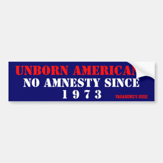 Unborn Americans, NO Amnesty Since 1973 Car Bumper Sticker