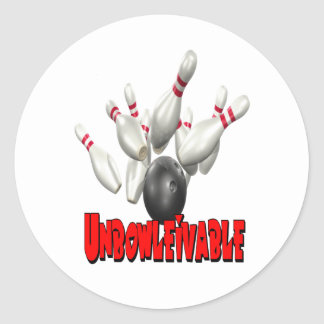 Unbowlievable Bowling Classic Round Sticker