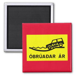 Unbridged River, Traffic Sign, Iceland 2 Inch Square Magnet