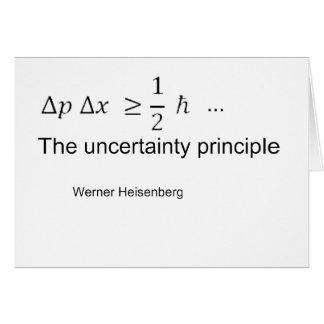 Uncertainty principle card