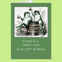 Uncle 40th Birthday Frogs Toasting with Beer Card