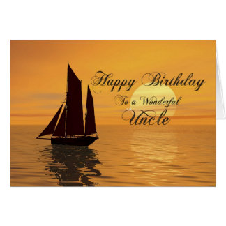 Uncle, a sunset yacht birthday card