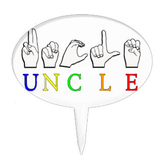 UNCLE ASL NAME SIGN FINGERSPELLED CAKE TOPPER