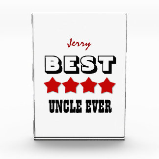 UNCLE Best Ever 4 Stars RED Custom Name V01 Acrylic Award