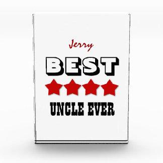 UNCLE Best Ever 4 Stars RED Custom Name V01 Acrylic Award