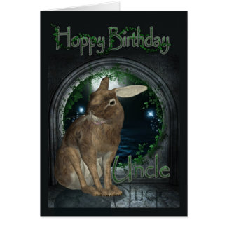 Uncle Birthday Card - Hoppy Birthday With Rabbit