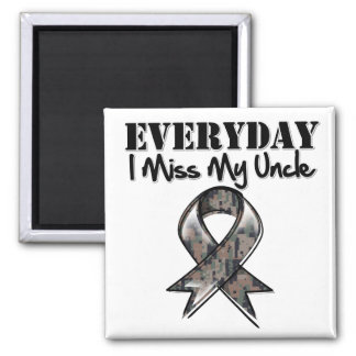 Uncle - Everyday I Miss My Hero Military 2 Inch Square Magnet