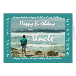 UNCLE - Happy Birthday - Man and Ocean Waves Card