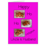 uncle & husband happy ho ho holigays gay x-mas car greeting cards