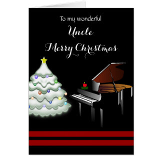 Uncle / Merry Christmas - Piano and White Tree Card